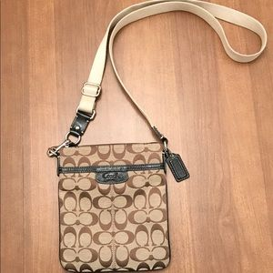 Coach Canvas Crossbody with Patent Accents